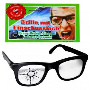 Brille Scherz mit Einschussloch,