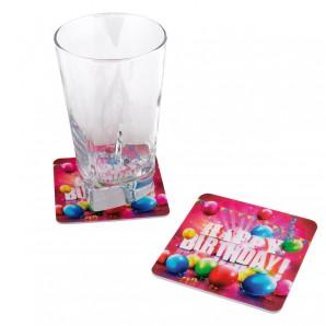 Untersetzer Happy Birthday 9x9 cm,