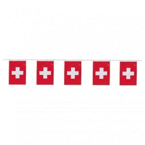 Girlande Flaggen Schweiz L: 4 m,