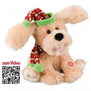 Merry Christmas Hund mit Sound und Wackelohren