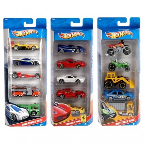 Hot Wheels 5-er Set, 1:64 Geschenkset,