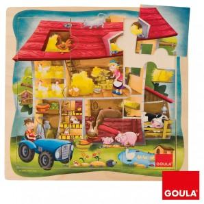 Puzzle aus Holz, Bauernhof 9 Teile,