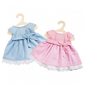 Sommerkleid Puppe 28-33 cm 2-fach ass. rosa oder blau