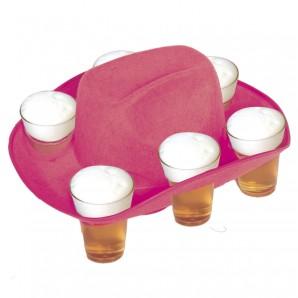Cowboyhut pink m.Bierhalter