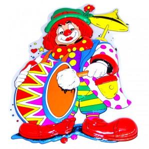 Dekomaske Clown mit Trommel 58x38 cm,