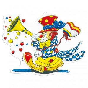 Dekomaske Clown mit Tröte 30x38 cm,