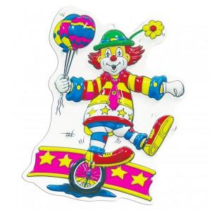 Dekomaske Clown mit Einrad 40x25 cm,