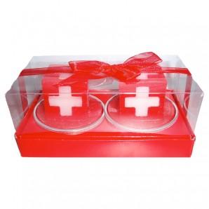 Teelichter CH-Kreuz, 2 Stück in Box,