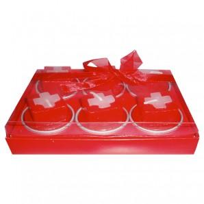 Teelichter CH-Kreuz, 6 Stück in Box,