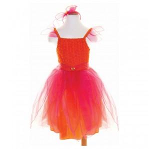 Kleid Sunset, 5-6 Jahre mit Haarband und Zauberstab