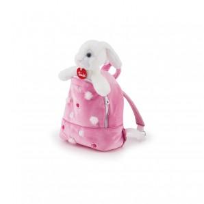 Hase in Rucksack rosa Plüsch