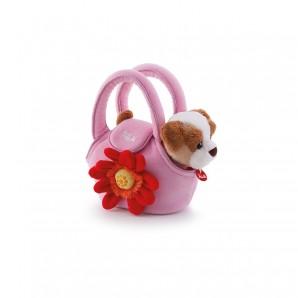 Hund in Tasche mit Blume Plüsch