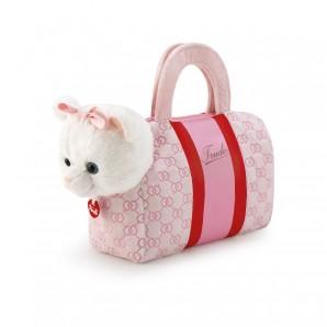 Katze in Tasche rosa Plüsch