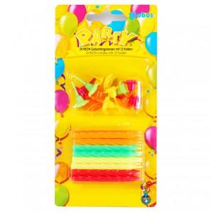 24 Geburtstagskerzen neon
