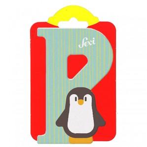 Holzbuchstabe P Pinguin