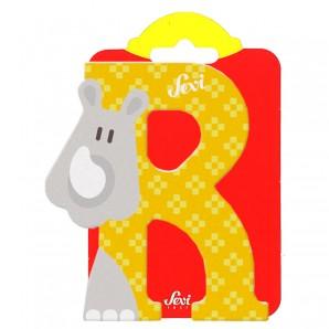 Holzbuchstabe R Rhinozeros