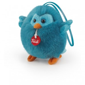 Trudi Charm Vögelchen blau Plüsch