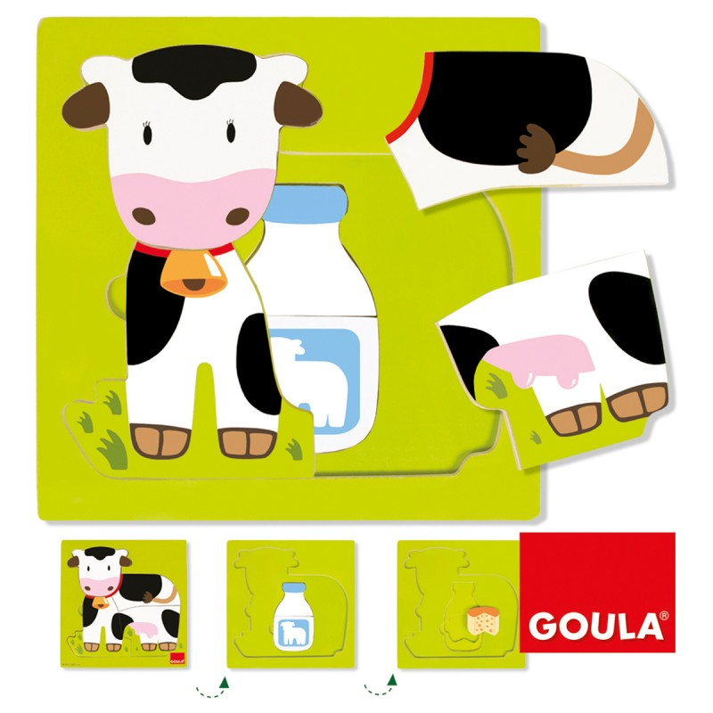 Puzzle Kuh, 3-lagig 19x19 cm,