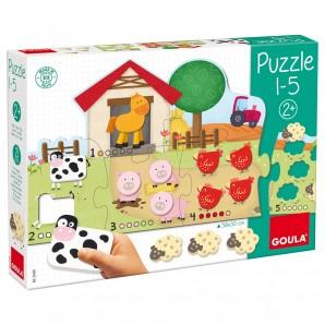 Puzzle Bauernhof 1-5 56x30 cm,