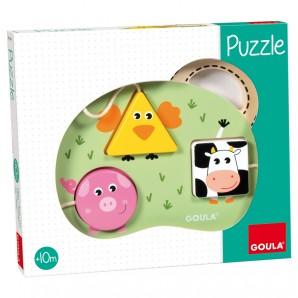 Puzzle aus Holz, Bauernhoftiere,