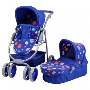 Puppenkombiwagen Coco blau mit Punkten,