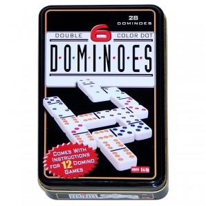 Domino Color 6, 28 Steine in Blechdose,