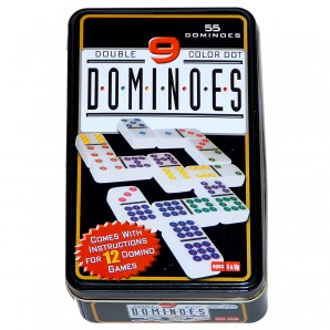 Domino Color 9, 55 Steine in Blechdose,