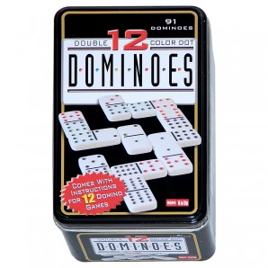 Domino Color 12, 91 Steine in Blechdose,
