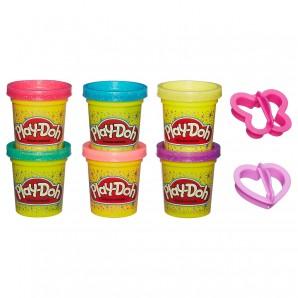 Play-Doh Glitzerknete in 6 funkelnden Farben