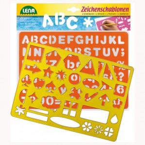 Zeichenschablonen ABC Zahlen und Zeichen,
