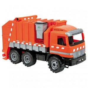 Müllwagen orange, 6 Räder 70x28x40 cm,