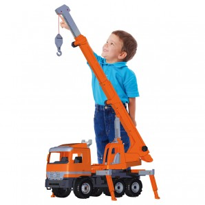 Kranwagen orange, gross 68x27x37 cm,