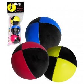 Jonglierbälle Set, 3 Stück 2-farbig schwarz mit gelb