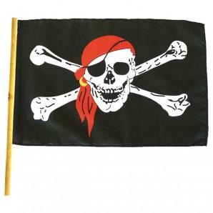 Piratenflagge mit Stock Gr.30 cm x 45 cm