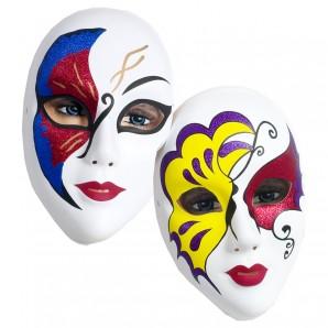 Maske Venezianisch Glitter sortiert,