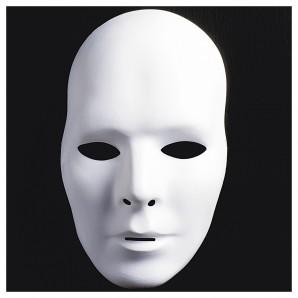 Maske zum bemalen Mann weiss,